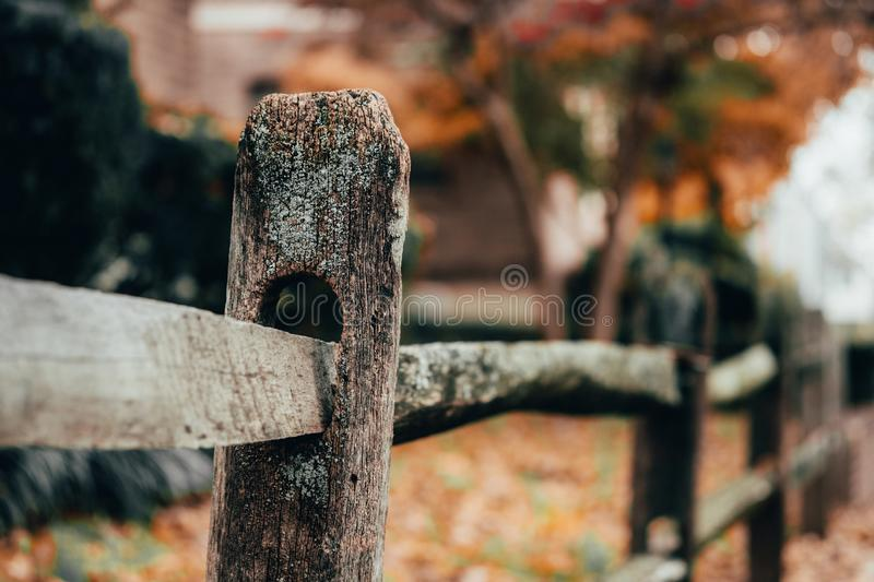 Close up of rustic wooden post in fence royalty free stock photography