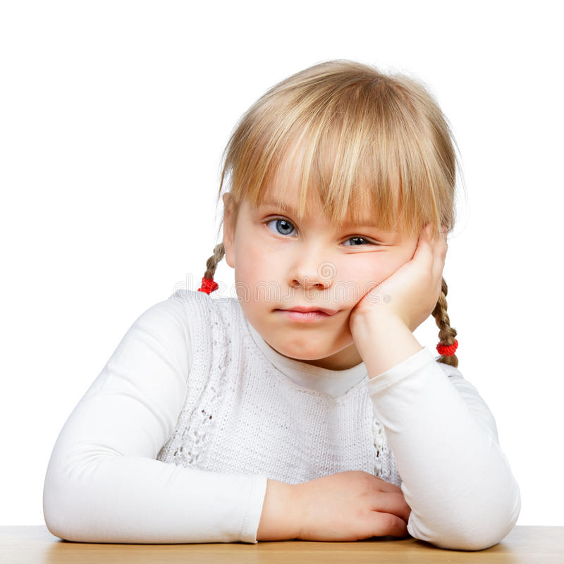Close-up of a sad little girl stock images
