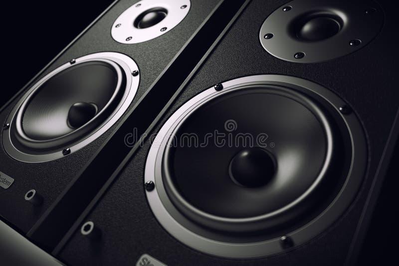 Close-up sadio dos oradores Sistema estereofônico audio ilustração do vetor