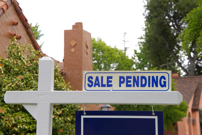 Sale pending sign on residential home. Close up on Sale pending sign for home. First-time home buyers in California have a more difficult time affording property stock photos