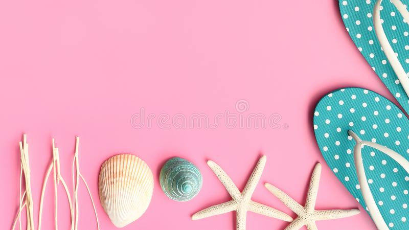 Close up of sandals and starfish royalty free stock photos