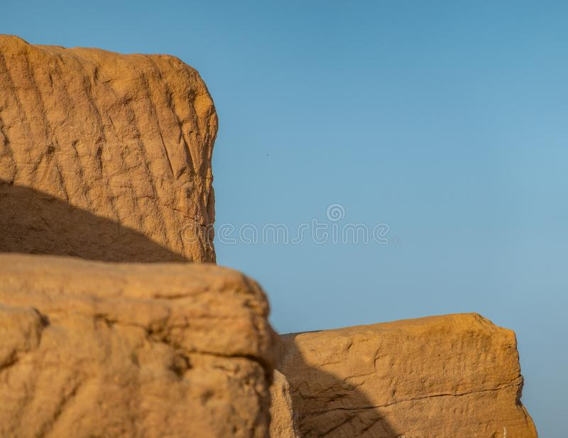 Close-up of the sandstones used to build the pyramids of the black pharaohs in Sudan, abstract. Close-up of the sandstones used to build the pyramids of the royalty free stock images