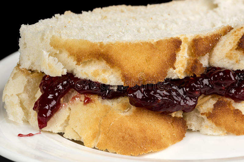 Close up of a sandwich made of Peanut Butter and Jelly royalty free stock photo