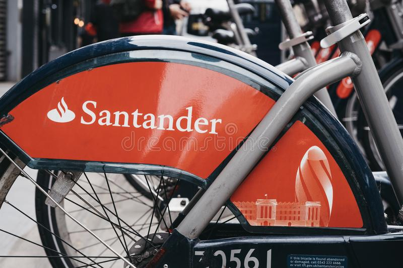 Close up of Santander bicycles on a street in London, UK royalty free stock photos