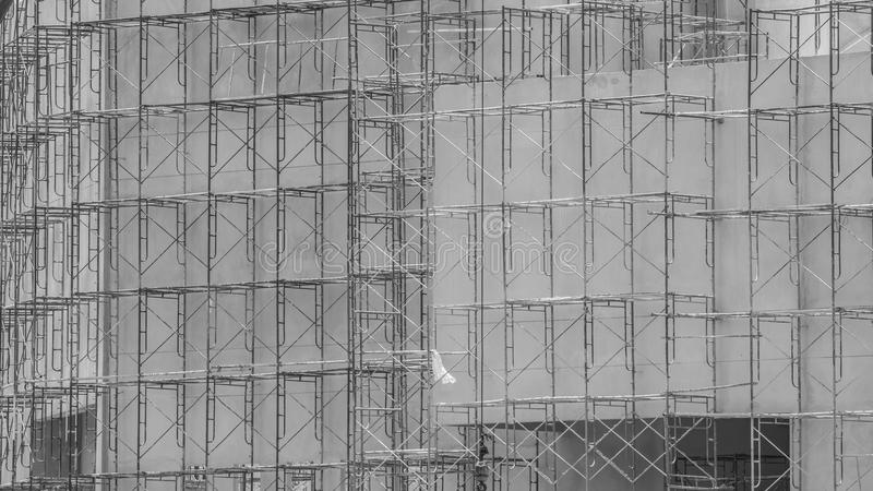 The scaffold in building construction site. black and white royalty free stock photos