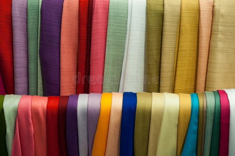 Close up scarf many background in street market fabric royalty free stock photos