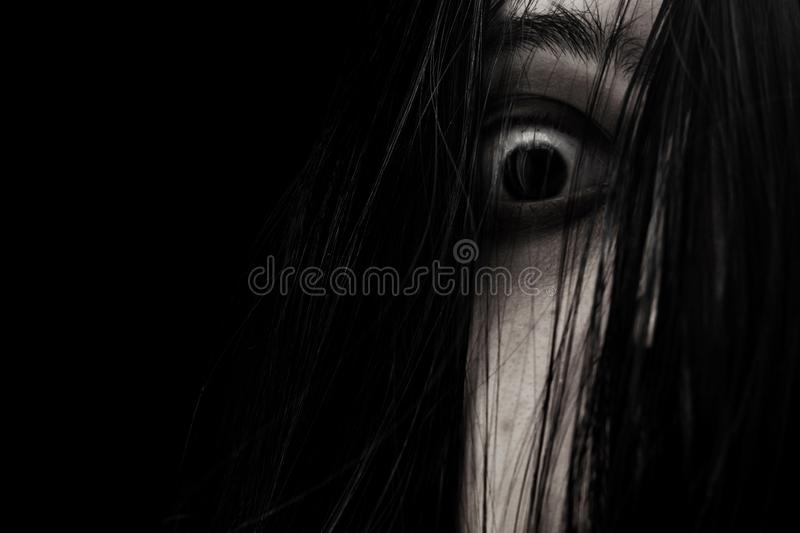 Close up of scary ghost woman eye. S royalty free stock photo