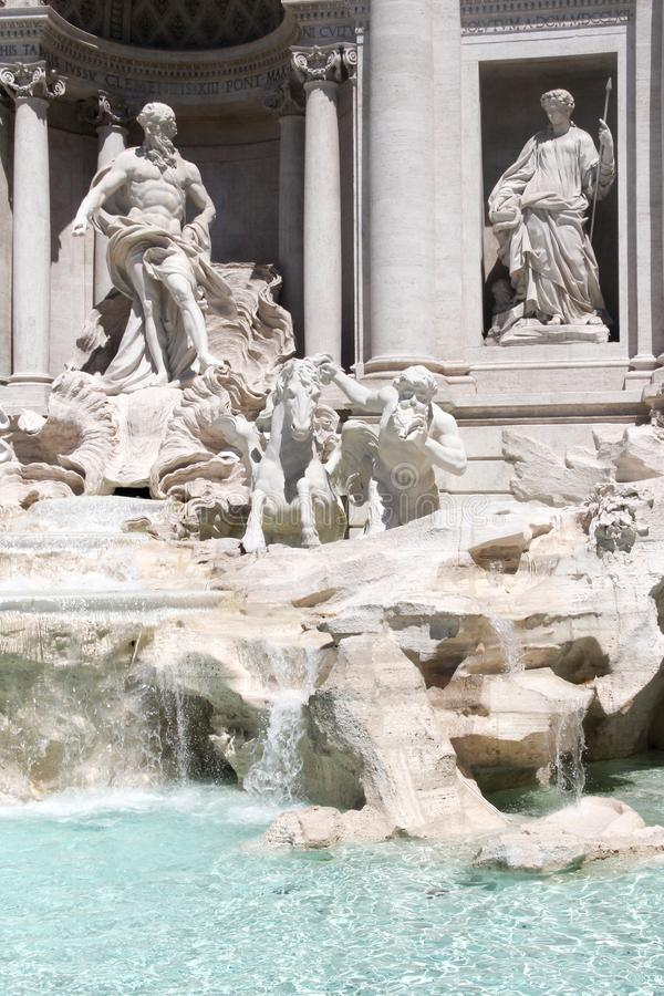Close up of the sculptures in the Fountain of Trevi, Rome, Lazio, Italy.  royalty free stock photography