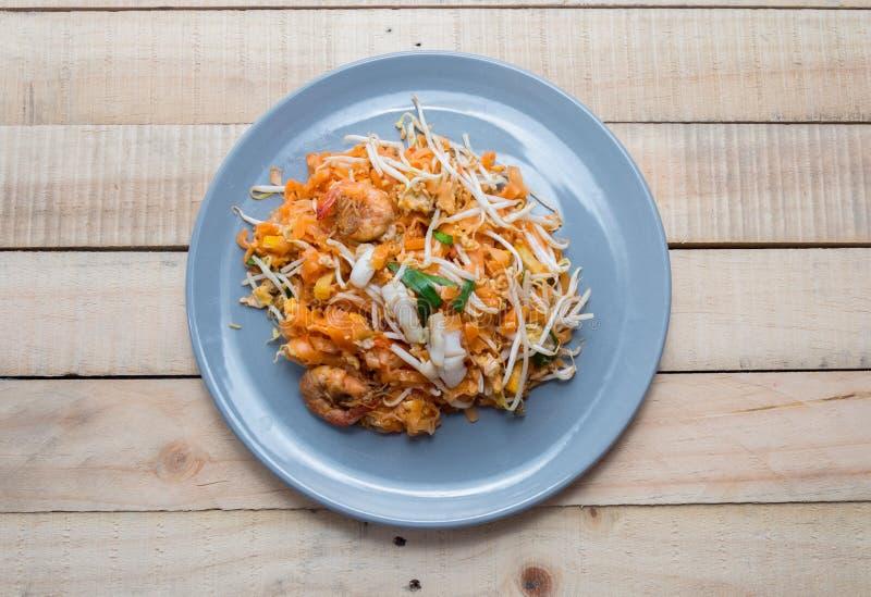 Seafood pad thai on plate. Close up seafood pad thai on plate royalty free stock photo