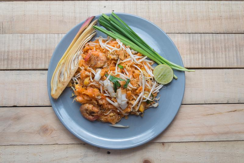 Seafood pad thai on plate. Close up seafood pad thai on plate royalty free stock images