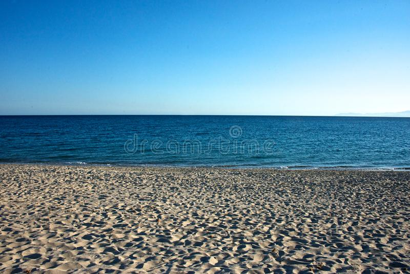 Close up of a seascape with sandy beach stock photo