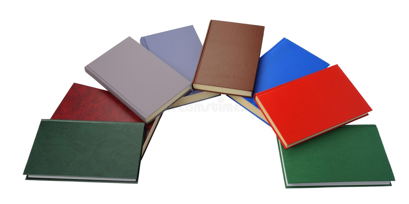 Close up of semicircle of colorful books stock photos