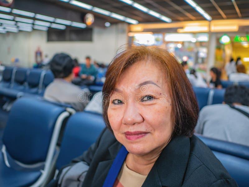 Close up Senior asian woman in don muang internation Airport Bangkok. Thailand stock images