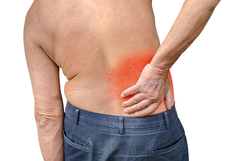 Close Up Of A Senior Man Holding His Back In Pain Ph Stock Image