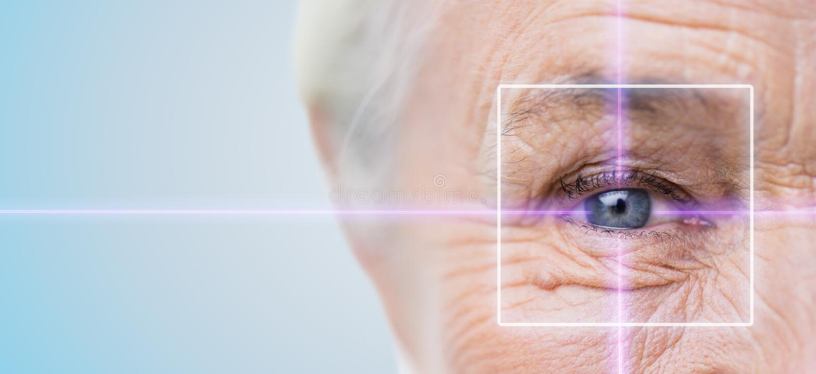 Close up of senior woman eye with laser light. Age, vision, surgery, eyesight and people concept - close up of senior woman face and eye with laser light royalty free stock images