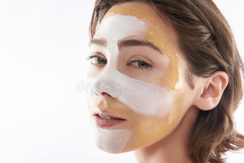 Close up of sensual young woman with face mask royalty free stock photos