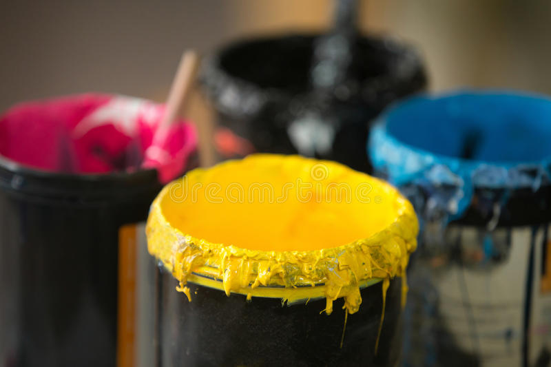 Close up of serigraphy printing ink royalty free stock image