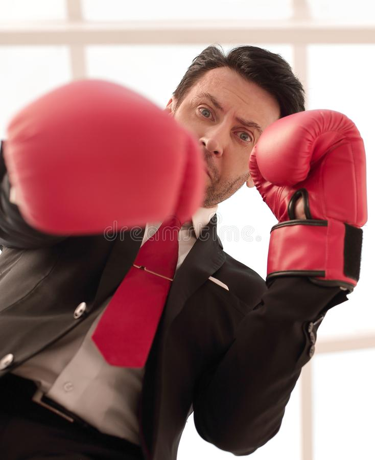 Close up.a serious businessman in red Boxing gloves. Photo with copy space stock images
