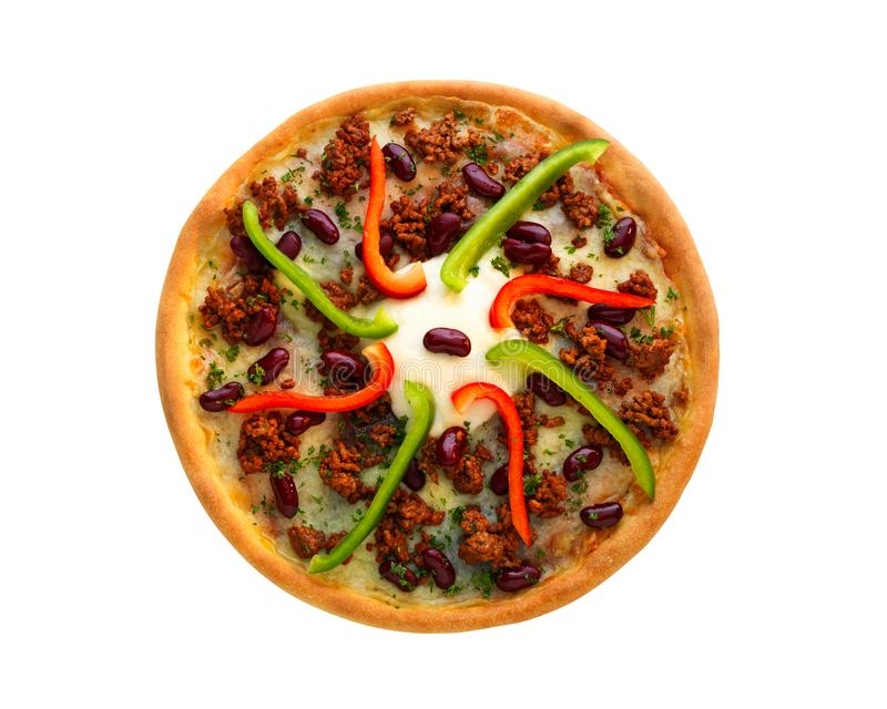 Close up of served pizza chili con carne with creme fraiche and cheese on a plate isolated on white background stock photos