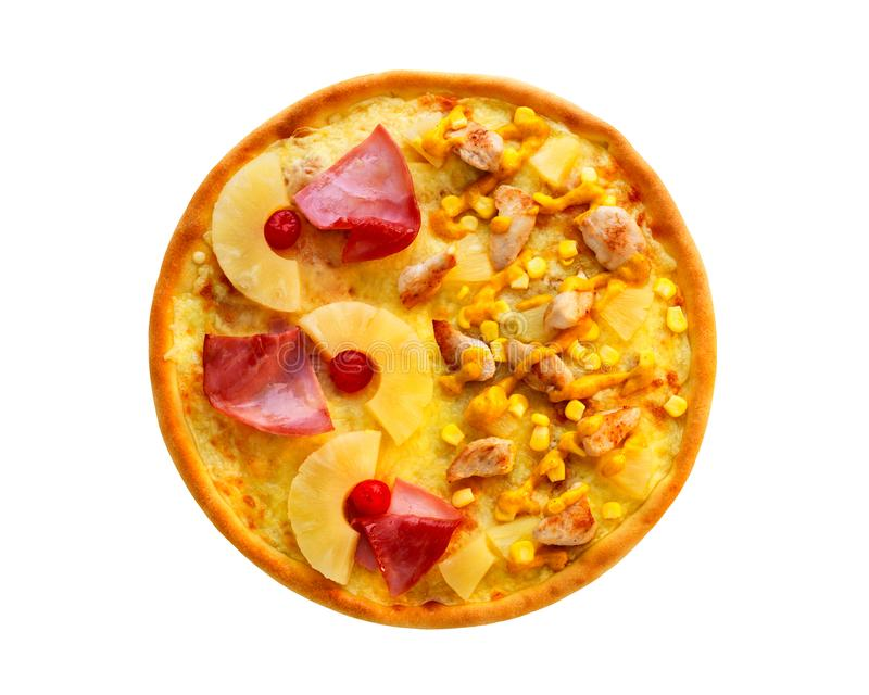 Close up of served pizza with ham, corn, pineapple, chicken, cheese isolated on white background royalty free stock photography
