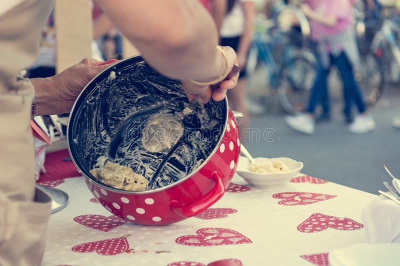 Close up of serving delicious pasta at outdoor event. stock photos