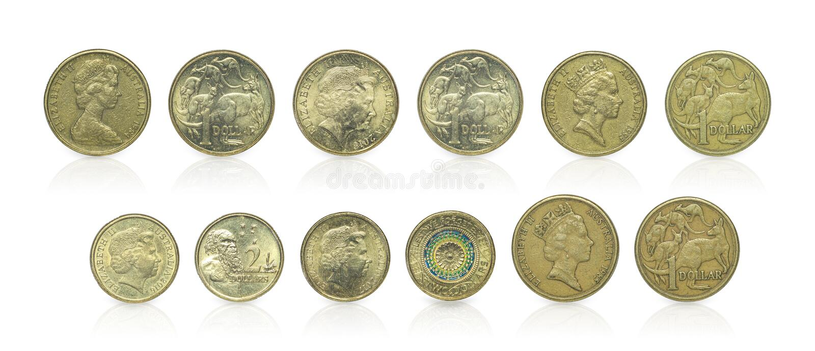 Close up - Set of Australian dollar coins islated on white background with clipping path. Reflection coin on white background. I. Close up - Set of Australian stock images