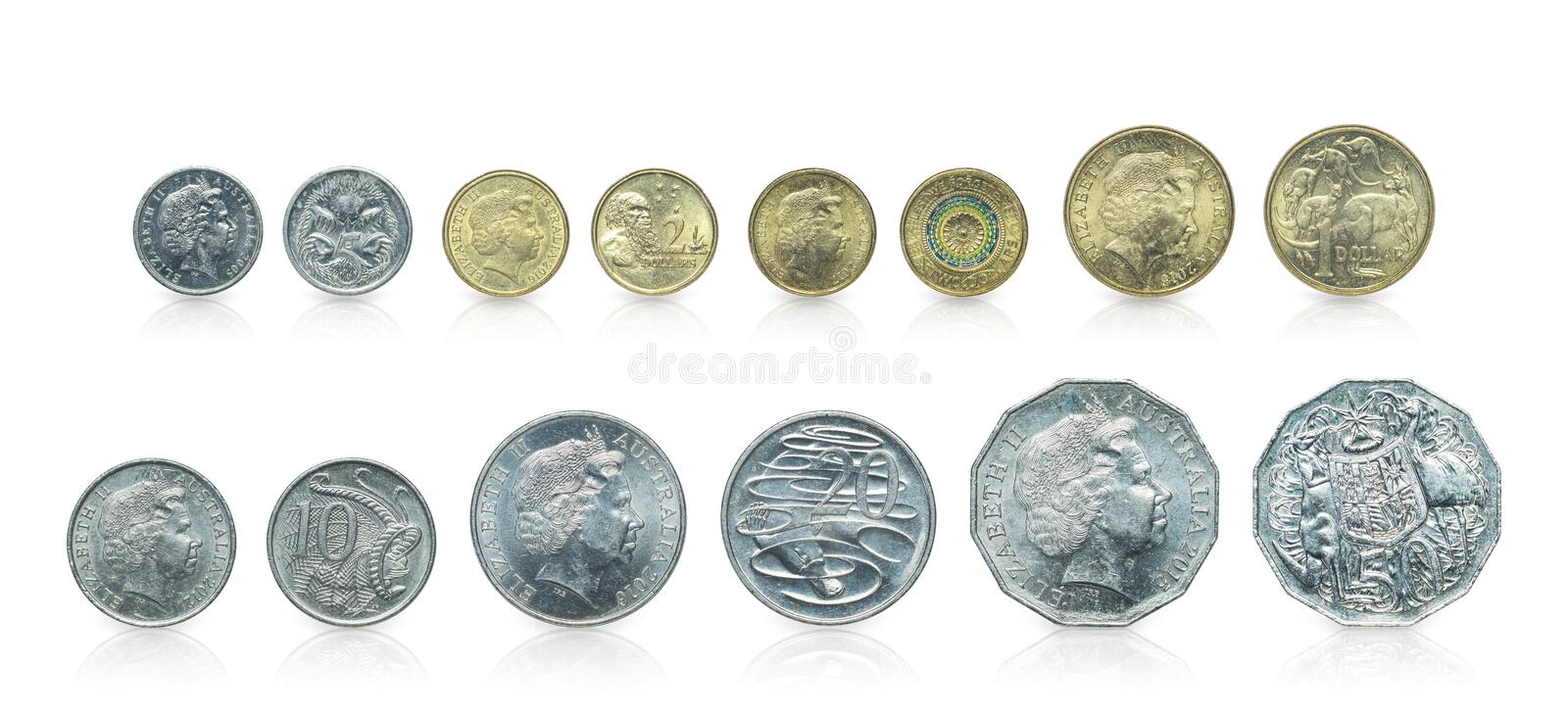 Close up - Set of Australian dollar coins islated on white background with clipping path. Reflection coin on white background. I. Close up - Set of Australian royalty free stock photo