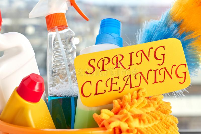 Close up set for spring cleaning. Equipment for cleaning and card spring cleaning close up. Cleaning business concept stock photos