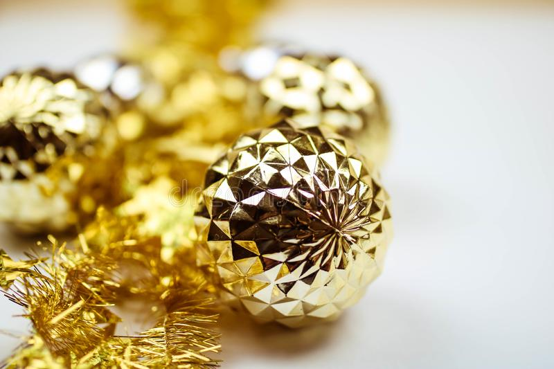 Close up of several Christmas glass baubles stock photography