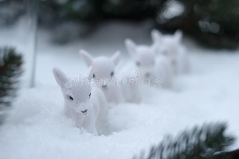 Close-up of several statues of little white deer in the snow against a background of Christmas tree branches, selective focus. Close up of several statues of stock photos