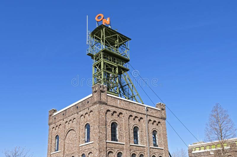 Close-up shaft building former ON coal mine Heerlen royalty free stock images
