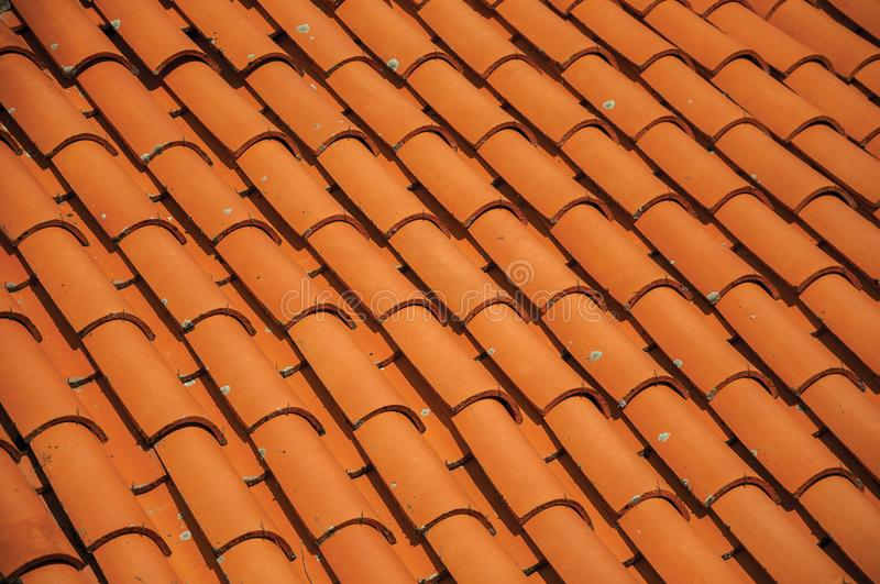Close-up of shingles on rooftop of an old house stock photo
