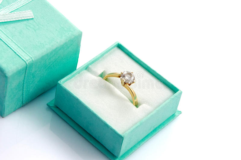 Close up Shiny diamond ring in green gift box stock photography