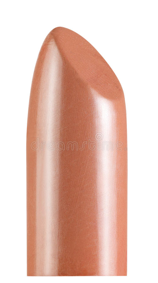 Close up of a shiny lipstick. Isolated om white background royalty free stock image