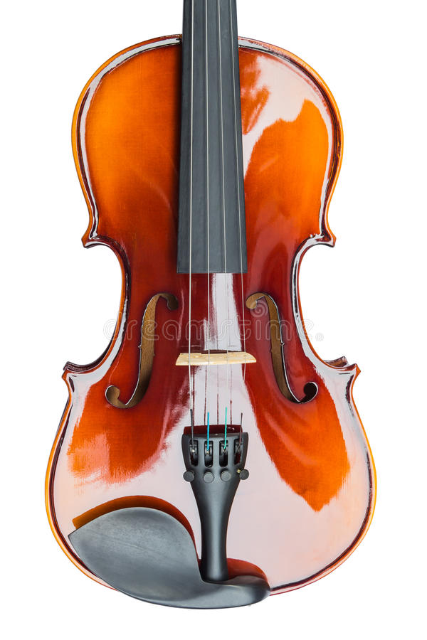 Violin. Close up of shiny violin, isolated on white background royalty free stock images
