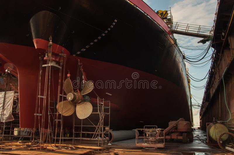 Close-up of ships propeller in dry-dock royalty free stock photos