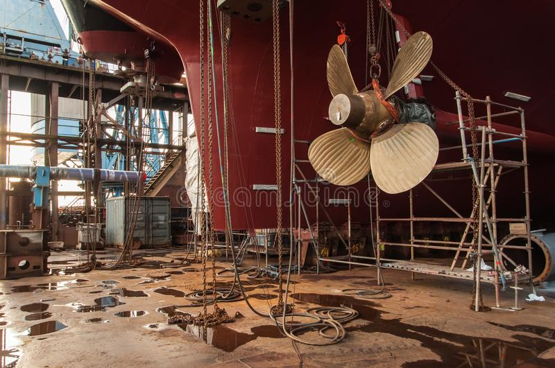 Close-up of ships propeller in dry-dock stock images