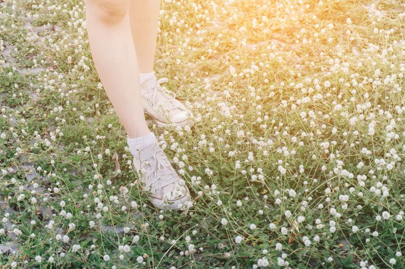 Close-up shoes hipster young girl relaxed time and enjoying nature around in the forest. royalty free stock images