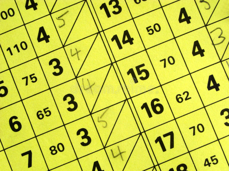 Close up of a short golf course score card. stock images