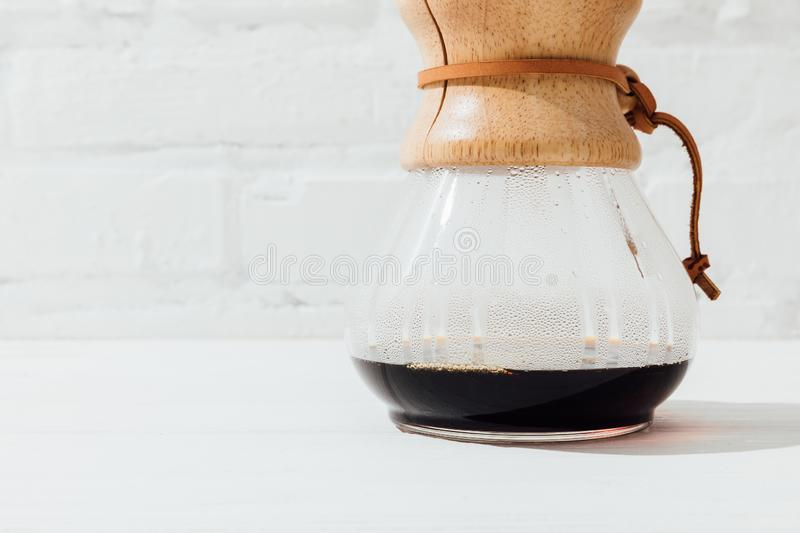 Close up shot of alternative coffee in chemex with filter cone royalty free stock image