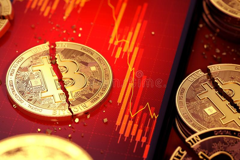 Close-up shot of Broken bitcoin split in two pieces laying on a smartphone screen with stock-market diagram in red color. 3D. Render vector illustration