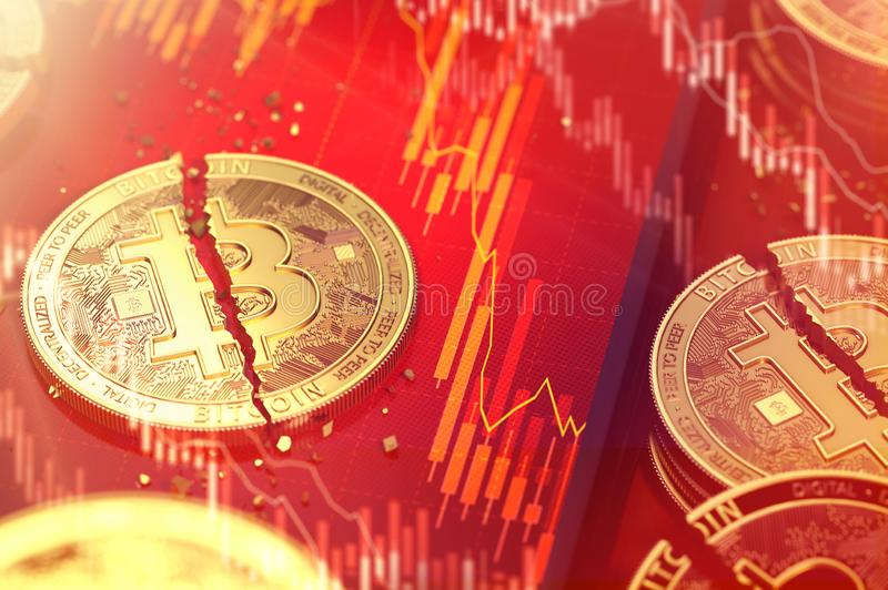 Close-up shot of Broken bitcoin split in two pieces laying on a smartphone screen with stock-market diagram in red color. 3D. Render stock illustration