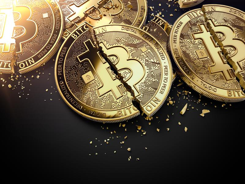 Close-up shot on broken or cracked Bitcoin coins laying on black background. Bitcoin crash concept. 3D rendering royalty free illustration