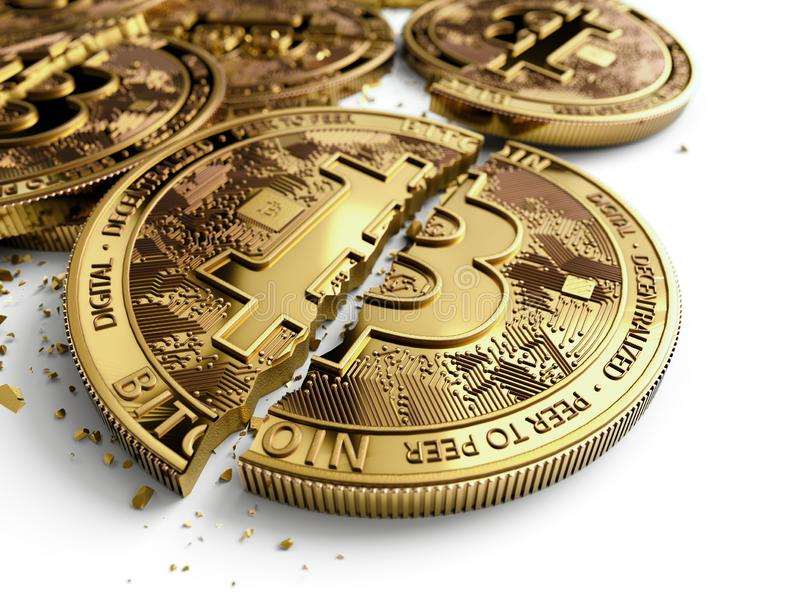 Close-up shot on broken or cracked Bitcoin coins laying on white background. Bitcoin crash concept. 3D rendering royalty free illustration