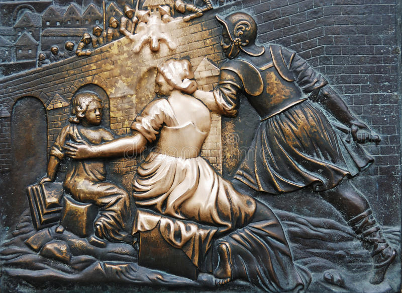 Download Close Up Shot Of Bronze Board On Charles Bridge Stock Photo - Image: 13290266