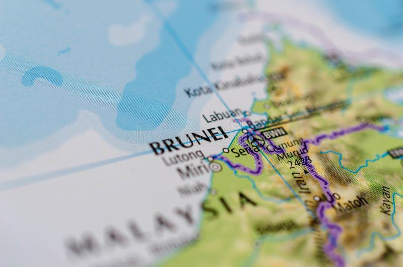 Brunei on map. Close up shot of Brunei. officially the Nation of Brunei, the Abode of Peace located on the north coast of the island of Borneo in Southeast Asia royalty free stock photography