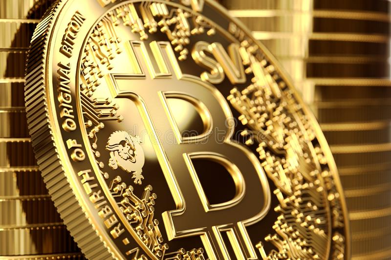 Close up shot on BSV letters on conceptual Bitcoin Satoshi Vision coin Bitcoin SV. 3D rendering royalty free illustration