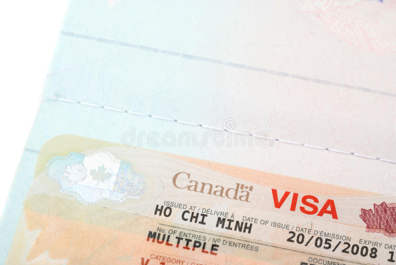 Close up shot of Canadian visa stamp. Issued in Ho Chi Minh Vietnam royalty free stock image