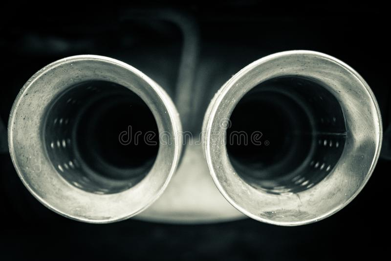 Car mufflers close up royalty free stock photography