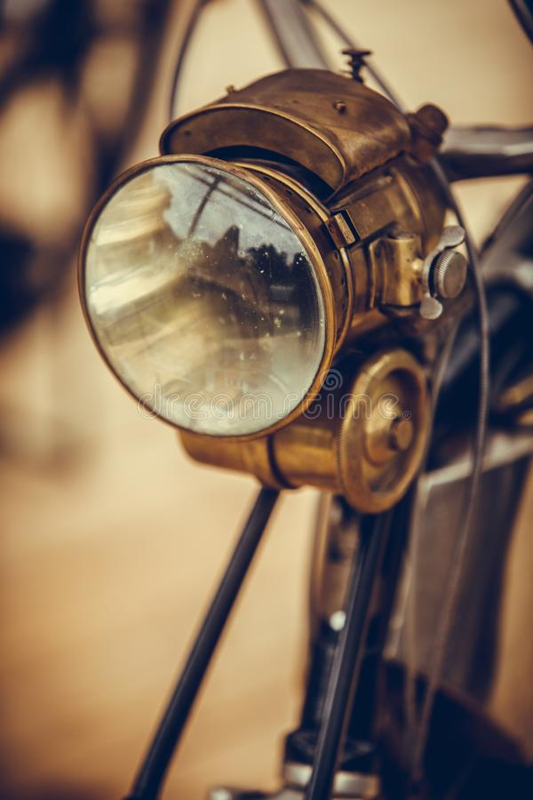Classic vintage motorcycle headlight stock images